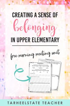 Start the school year off strong with a FREE classroom community building morning meeting lesson focused on creating a sense of belonging. Created for upper elementary students in 3rd, 4th, and 5th grade, this first week of school lesson plan includes a fun community building read aloud and activities, discussion questions, student journal pages, quotes, bulletin board printables, and more! Download your FREE character education minilesson for back to school now! #tarheelstateteacher Free Teaching Resources, Teacher Resources, Teaching Ideas, Elementary Teaching, Upper Elementary, Teacher Blogs, Teacher Hacks, Classroom Activities, Classroom Organization