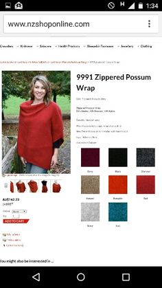 Lothlorian Possum & Merino Zip Poncho, as seen at Country Shop in Marysville, Vic. Made in New Zealand. 10/16