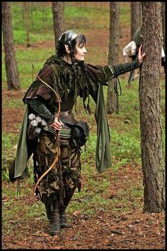 Female Elf archer on duty