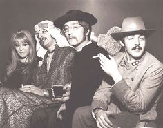 January 8, 1967 - Maureen with three Beatles at a party Georgie Fame hosted for his fiancee, Carmen Jimenez';s, 21st birthday. Newly blonde Maureen with Arab Sheik Ringo, Father John Lennon and Confederate army officer Paul McCartney at London';s Cromwelian Club. From the retro2go blog/Maureen Starkey Tribute Yahoo Group http://groups.yahoo.com/group/maureenstarrtribute/