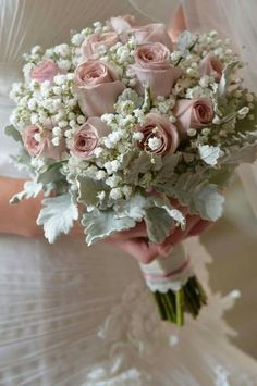 Romantic Wedding Bouquet Featuring: Dusty Pink Roses, White Gypsophila & Dusty Miller