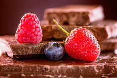 berries on chocolate by photoplace