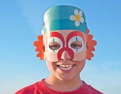 CLOWN Paper Mask - Kids Halloween Costume - Printable Mask