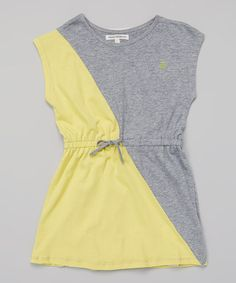 Look what I found on #zulily! Grey & Yellow Color Block Blouson Dress - Toddler & Girls #zulilyfinds