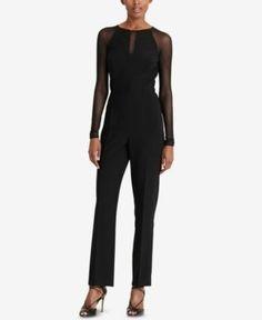 Lauren Ralph Lauren Mesh-Panel Jersey Jumpsuit, Regular & Petite Sizes - Black 14P