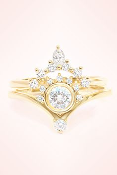 Unique diamond engagement ring Valentia, with nesting diamond wedding ring side band Romi , made in yellow gold. High quality white and clean diamonds. HANDMADE by Silly Shiny Diamonds