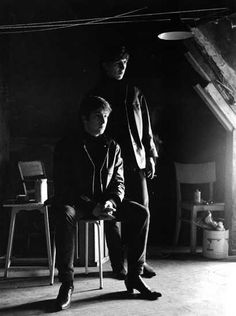 astrid kirchherr's famous photo, after John Lennon's close friend Stuart Sutcliffe's death, taken in Stuart's art room with George Harrison- Google Search