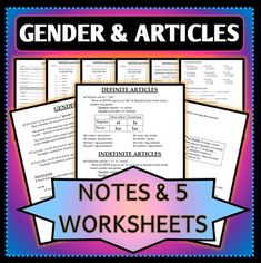 This product is a collection of notes and worksheets related to Gender and Definite & Indefinite Articles in Spanish. These are great resources for your Spanish 1 classroom as you're teaching your students about gender and articles for the first time. Included in this project is 3 pages of notes,  5 worksheets, and 5 answer keys