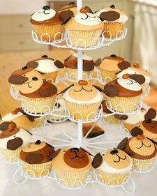 """Kids will fall head over """"paw"""" for these adorable puppy cupcakes from Cake Power founder Kate Sullivan. Download and print the dog-ear template for a handy decorating guide."""