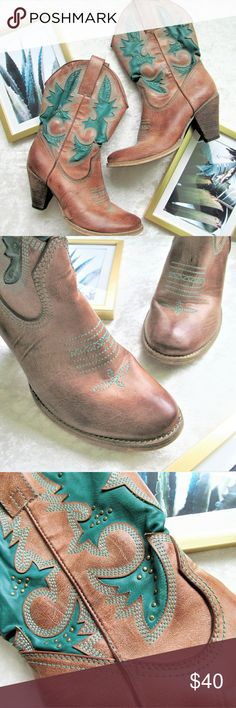 Very volatile heeled cowboy cowgirl boots Cute cowboy boots with a stacked heel and teal accents. In euc, worn only a few times. 'Rio Grande' style, size 8.5  Boho, southwestern, rodeo  Very Volatile Shoes Heeled Boots