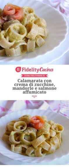 Calamarata con crema di zucchine, mandorle e salmone affumicato