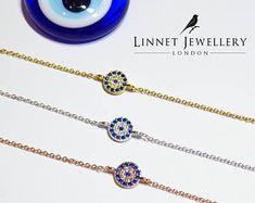 Small Blue Lucky Evil Eye Bracelet Cz 925 Silver Rose Gold