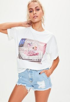 barbie x missguided white printed 'i'm busy' tshirt, size 6, missguided.co.uk