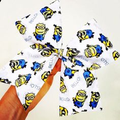 Big Minion Fabric Cheer Bow