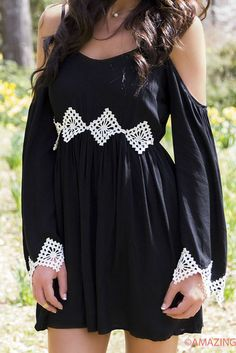 Wishing Well Black Open Shoulder Dress