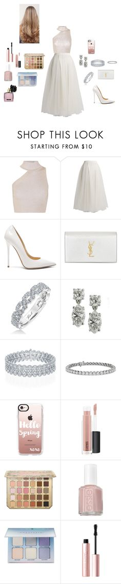 """""""Untitled #151"""" by aseel18 ❤ liked on Polyvore featuring Cushnie Et Ochs, Rochas, Jimmy Choo, Yves Saint Laurent, Karl Lagerfeld, Blue Nile, Casetify, MAC Cosmetics, Essie and Anastasia Beverly Hills"""