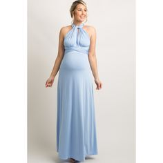 83987dabc0 Light Blue Solid Pleated Convertible Maternity Maxi Dress. Lavender  Maternity DressLight Blue Maternity DressBlue Baby Shower ...