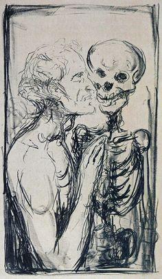 Edvard Munch — Totentanz (Selbstporträt), lithograph, 1915.