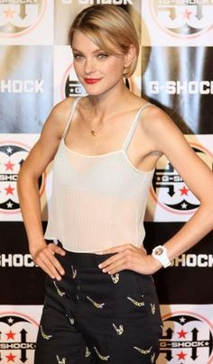 Jessica Stam on the red carpet at watchmaker G-Shock's 30th anniversary party