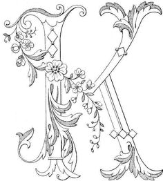 Free Printable Fancy monogram: Link to Antique Pattern