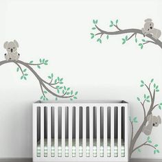 Large size Koala Tree Branches DIY Wall Decals Wall Sticker Nursery Vinyls Baby Wall Stickers Wall Art For Kids Rooms Mural Pink Wall Stickers, Nursery Wall Stickers, Kids Wall Decals, Cheap Stickers, Nursery Modern, Baby Nursery Decor, Baby Decor, Koala Nursery, Nursery Room