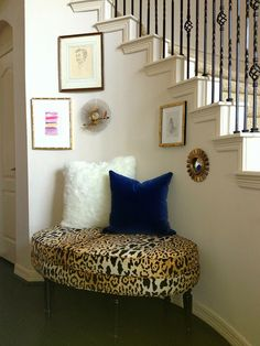 Leopard bench nook/unusual stair railing