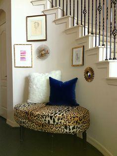 Leopard bench nook/unusual stair railing