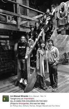 Best #Ham4Ham EVER: Elizabeth (Phillipa Soo) & Alexander Hamilton (Lin-Manuel Miranda), & their 8 children (the younger 6 from FUN HOME), Philip (Anthony Ramos), Angelica (Morgan Marcell), Alexander, Jr. (Oscar Williams), James Alexander (Tony nominee/original Small Alison, Sydney Lucas!), John Church (Gabriella Pizzolo), William Stephen (Alessandra Baldacchino), Elizabeth Holly (Presley Ryan), and Philip, Jr. or Little Phil (Zell Steele Morrow, the best dancer!)