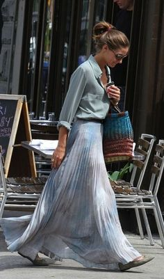 pleated maxi with faded chambray