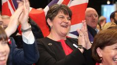 DUP leader Arlene Foster at an election count on 9 June 2017. She was to become critical to enabling Theresa May to stay on as Prime Minister, later that same day, lending her 10 DUP members to support a Conservative minority government.