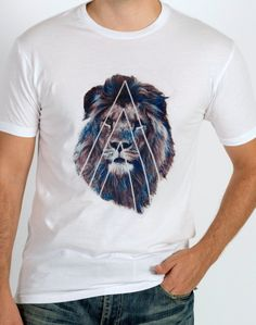 LION shirt mens shirt hipster shirt crew by bydefinitionapparel