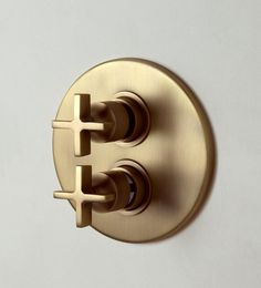 """London LOC52 in Vintage Brass, Wall Mounted Thermostatic Shower Valve with 2 Way Flow Control, 1/2"""" Crosshead Handle #Vintage Brass, #shower"""