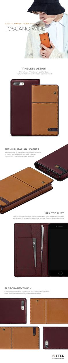 """""""TOSCANO WINE"""" is a handcrafted vegetable leather and case which takes its inspiration from that most enduringly famous and romantic of all Italian wine regions, Tuscany. It has an inner card slot and additional storage. Iphone 7 Cases, Iphone 7 Plus, Phone Case, Leather Bag Design, Vegetable Leather, Italian Wine, Mobile Cases, Italian Fashion, Leather Material"""