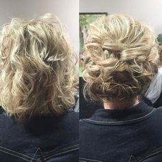 Short hair CAN go up.  Kept the texture of this lady's hair..used loops and twists to create this updo.