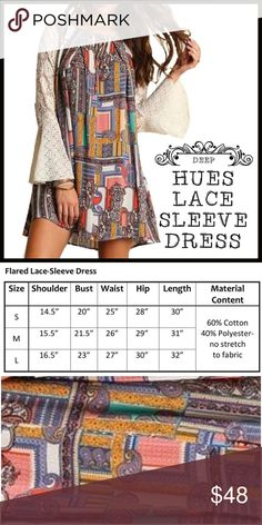 Rich Hues & Lace Bell Sleeve Dress Rich Hues & Lace Bell Sleeve Dress; rich vibrant color pallet; contrast lace bell sleeves; roomy flowy fit; comfortable airy material. Boutique Dresses
