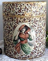 Antique 19th Century French Victorian Hat Box Original Label-Hatbox, brown, paper,floral, woman, portrait, green, pink, red, estate, collector, label, original,