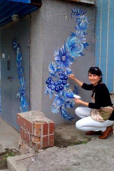 petrykivka1.jpg (Изображение JPEG, 536×800 пикселов) - Масштабированное (74%) Art For Art Sake, Wall Murals, Painting & Drawing, Art Studios, Paper Art, Creative Art, Acrylics, Folk Art, Abstract Art