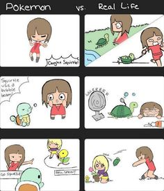 What happen if you use pokemon+real life? Her face in panel 4 is hilarious!