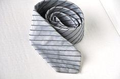 Gray Skinny Tie Vintage Mens Necktie Silver by ArmorOfModernMen, $14.95