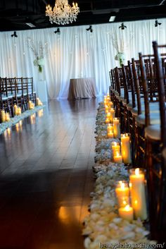 Posy, MMJ Events, Columbus Ohio, Wedding, Black and white, Gold, Blush pink, Ivory Room, Modern Wedding, Gold glitter branches, candle lined aisle, rose petal aisle
