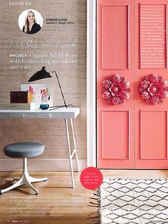 In article  Pretty in Pink  editor featured Extra Fine Arrowroot 071 Feather & 3 So-Cute Ways to Make Over Big Boring Closet Doors | Ceiling ... pezcame.com