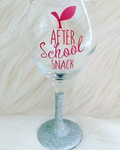 After School Snack Wine Glass-teacher gift-wine glass- funny wine glass-teacher appreciation-gift for teacher-end of the year gift by OhMyGlitterDesigns on Etsy