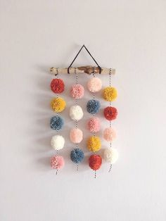 Pom Pom Hanging, Small Driftwood Garland, Nursery Decor, CUSTOM - You are in the right place about crafts for boys Here we offer you the most beautiful pictures abo - Pom Pom Crafts, Yarn Crafts, Diy And Crafts, Crafts For Kids, Pom Pom Diy, Pom Pom Garland, Preschool Crafts, Fabric Garland, Diy Garland