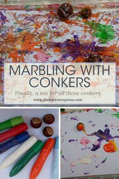 Marbling with conkers is super easy and fun for all ages | Crafts with conkers | The Parent Express