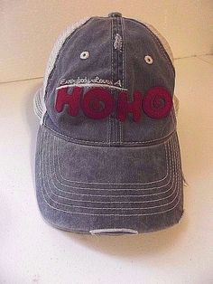 Hostess HO HO Hat Cap Snap Back Mesh Trucker Destroyed Distressed Denim #Hostess #Trucker