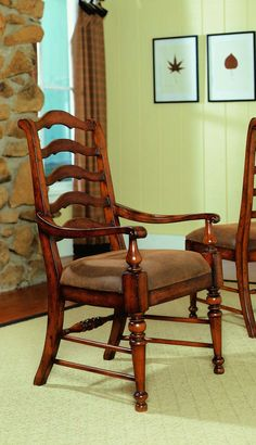 Hooker Furniture Waverly Place Ladderback Arm Chair in Sporty Cognac Fabric (Set of 2) 366-75-400 SALE Ends Jul 4