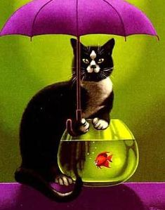 Silly cat and umbrella.  Le Poisson Rouge (The Red Fish) by Claude Théberge