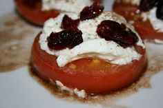 A Year of Slow Cooking: CrockPot Tomatoes and Goat Cheese with Cranberry Balsamic Syrup