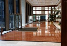 Commercial Lobby - Polished Marble and Granite Floor Scope of work: grind floor flat, sand, polish and protect floor with a two-step penetrating sealer. Granite Flooring, Work Grind, Divider, Marble, Gallery, Room, Commercial, Polish, Flat