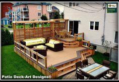 Outdoor decks and patios Small Deck Designs, Hot Tub Gazebo, Outside Patio, Diy Deck, Decks And Porches, Small Patio, Patio Design, Backyard Patio, Outdoor Living